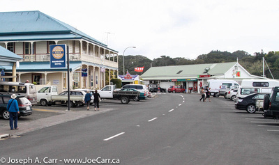 The old Mangonui Hotel and other shops