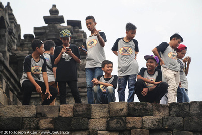 Indonesian boys on a field trip to the temple