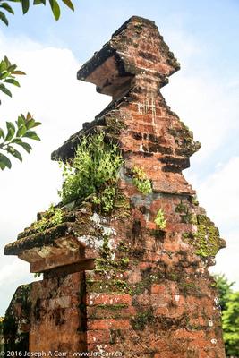 Plant-covered brick column