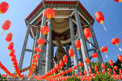 The giant bronze statue and Chinese lanterns