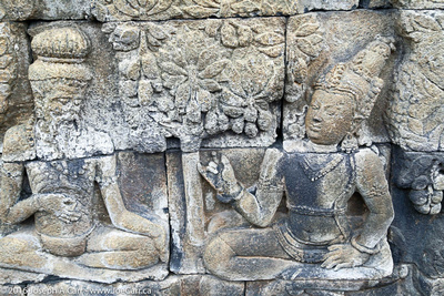3-D relief stone carvings telling stories about Buddha