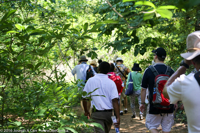Excursion group walking the trail