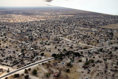 Aerial view of homes in Maun