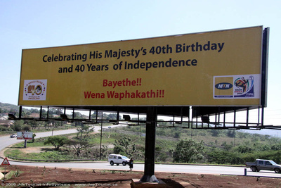 Sign announcing Swazi king Mswati III 40th birthday