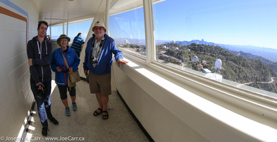 Matt, Diane & Reg in the observation deck of the Mayall dome
