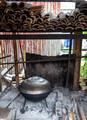 Open fire BBQ burning bamboo
