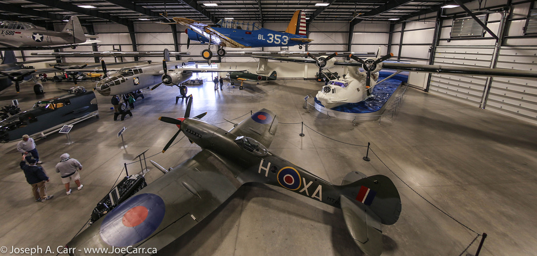 Spitfire in the foreground of Hanger 5