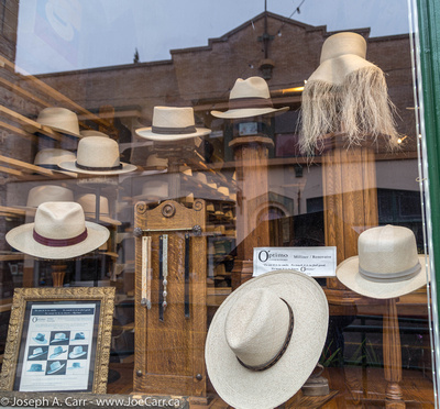 Hat shop display window