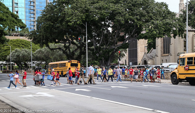 School kids crossing the street on a field trip