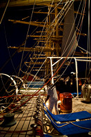 Crew working the lines and staysail