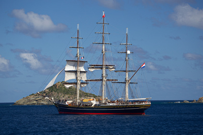 Stad Amsterdam three-masted clipper anchored in the outer harbour