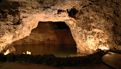 A lake in the cave and an escape route (boat & ladder)