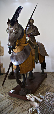 Armoured horse and gladiator