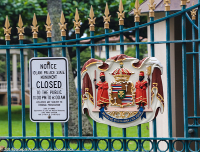 Royal Crest on the gate of the Iolani Palace