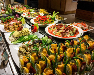 Salad buffet in the restaurant