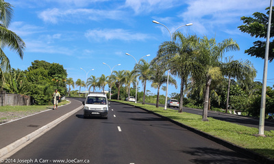 Divided highway  out of Papeete heading along the north shore