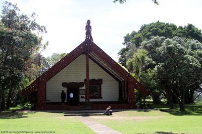 Front exterior of Te Whare Runanga Meeting House
