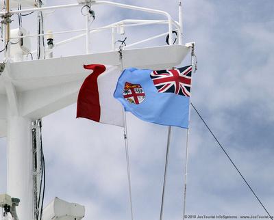 Fijiian flag flying from Volendam's mast