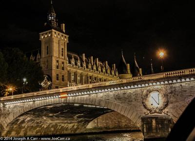 Hôtel de Ville (CIty Hall) and Pont d'Arcole lit at night