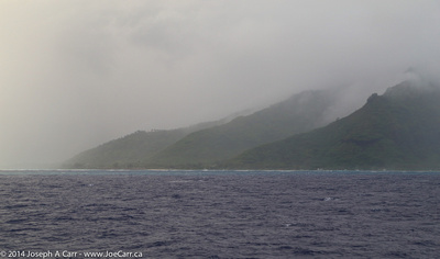 Northern tip of Moorea in the mist
