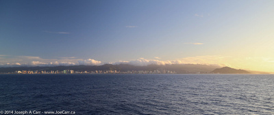 Approaching Honolulu harbour in the early morning